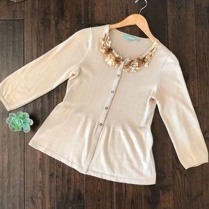 Boden silk blend gold collar cream peplum cardigan